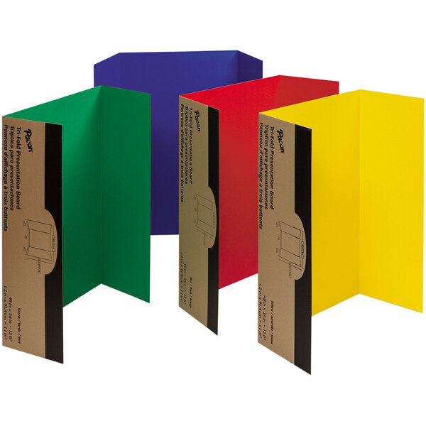 """Pacon 37654 Spotlight 24"""" x 36"""" Assorted Color Tri-Fold Corrugated Presentation Display Boards - 4/Pack Main Image 1"""