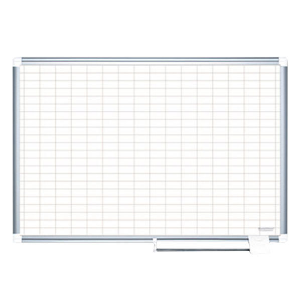 """MasterVision MA0593830 48"""" x 36"""" White Grid Dry Erase Planning Board - 2"""" x 3"""" Grid Main Image 1"""