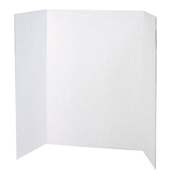 "Pacon 3763 Spotlight 24"" x 36"" White Tri-Fold Corrugated Presentation Display Board - 24/Case Main Image 1"