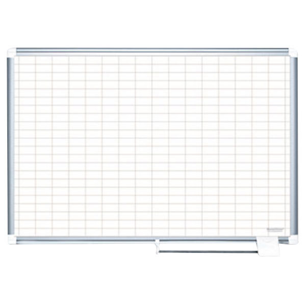 """MasterVision MA0592830A 48"""" x 36"""" White Grid Dry Erase Planning Board with Accessories - 1"""" x 2"""" Grid"""