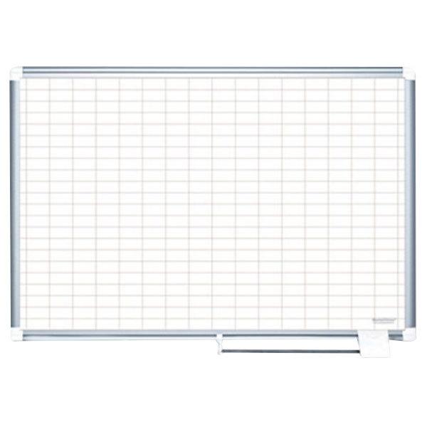 "MasterVision MA0592830 48"" x 36"" White Grid Dry Erase Planning Board - 1"" x 2"" Grid"
