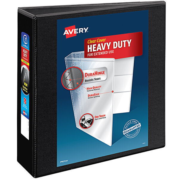 """Avery 5600 Black Heavy-Duty Non-Stick View Binder with 3"""" Slant Rings Main Image 1"""