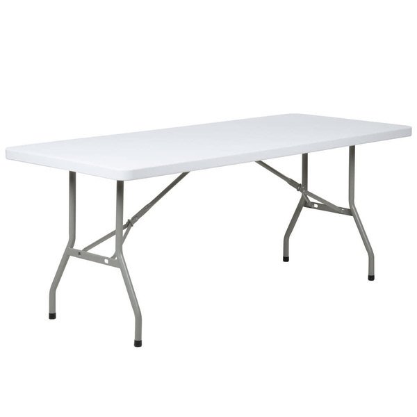 Lancaster Table & Seating 30 inch x 72 inch Heavy-Duty Granite White Plastic Folding Table