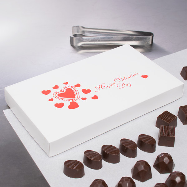 "9 3/8"" x 5 5/8"" x 1 1/8"" 2-Piece 1 lb. Valentine's Day Candy Box - 125/Case Main Image 5"