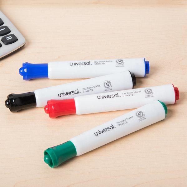 Universal UNV43650 Chisel Tip Desk Style Dry Erase Marker, Color Assortment - 4/Pack