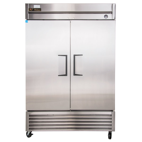 "True TS-49 55"" Stainless Steel Two Section Solid Door Reach-In Refrigerator Scratch and Dent"