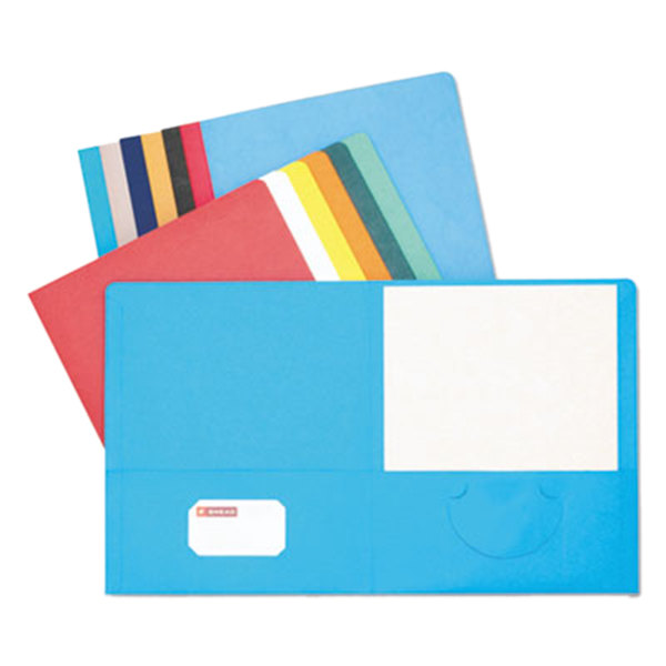 Smead 87850 Letter Size Heavyweight Textured 2-Pocket Paper Pocket Folder, Assorted Color - 25/Box Main Image 1