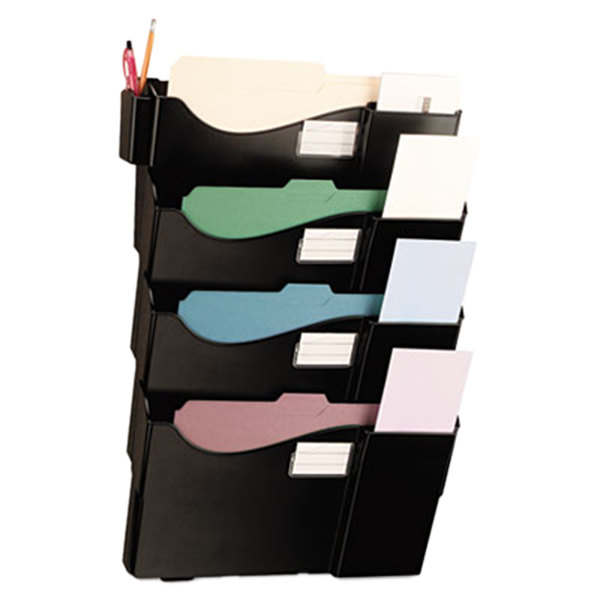 Universal UNV08137 Black Plastic 4 Pocket Wall Mounted Grande Central Filing System
