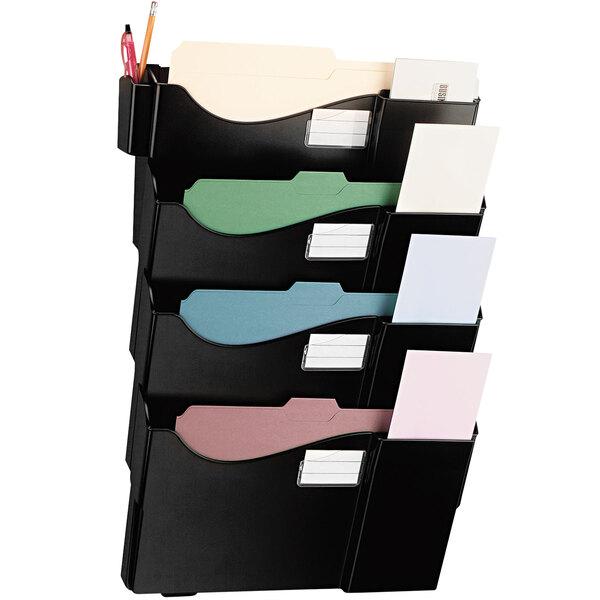 Universal UNV08137 Black Plastic 4 Pocket Wall Mounted Grande Central Filing System Main Image 1