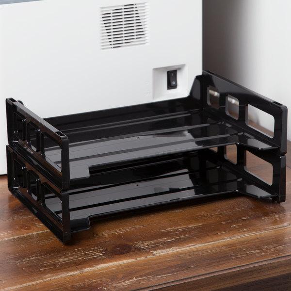 "Universal UNV08100 13"" x 9"" x 2 3/4"" Black Side Load Stackable Plastic Desk Tray, Letter - 2/Pack"