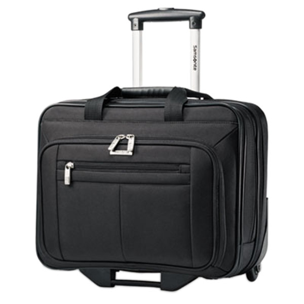 "Samsonite 438761041 Classic 16 1/2"" x 13 1/4"" x 8"" Black Top Loader Rolling Laptop Case / Business Case Main Image 1"