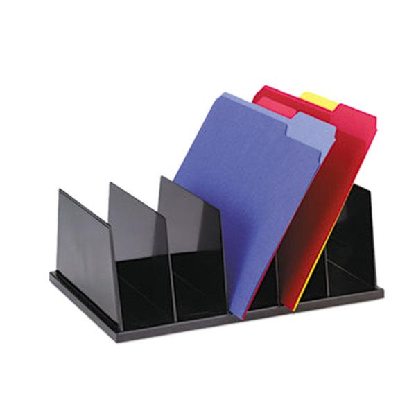 "Universal UNV08125 13 1/2"" x 9 1/8"" x 5"" Black 5 Section Plastic Desktop Sorter"