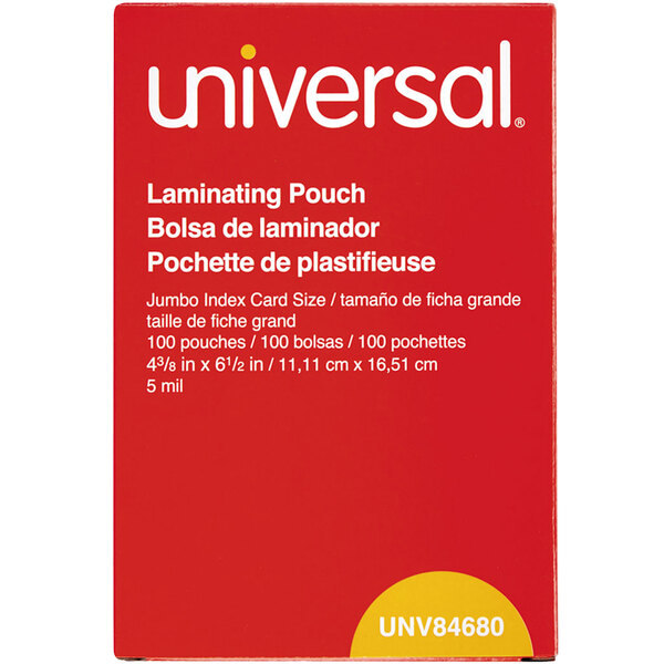 """Universal UNV84680 4 3/8"""" x 6 1/2"""" Clear Laminating Pouch - 100/Box Main Image 1"""