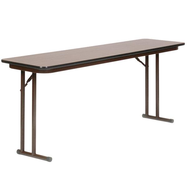 "Correll ST1872PX01 18"" x 72"" Rectangular Walnut High-Pressure Folding Seminar Table with Off-Set Legs"