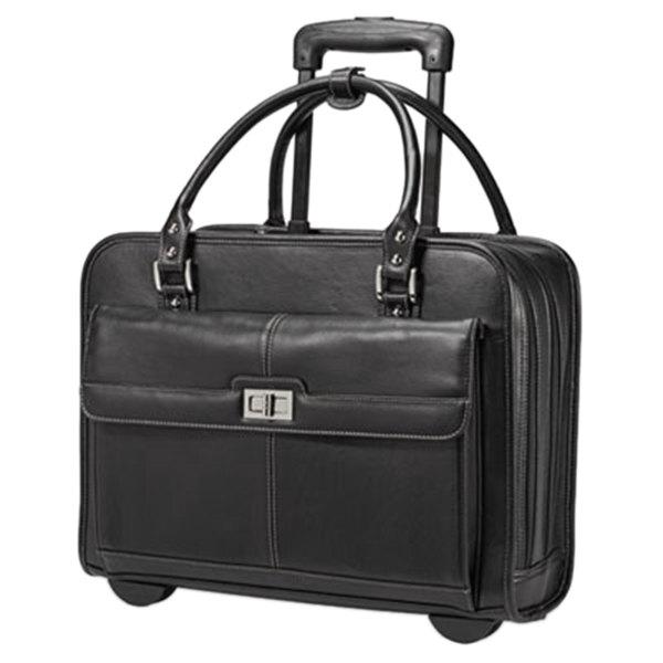 "Samsonite 567331041 Women's Mobile Office 16 1/2"" x 12 3/4"" x 6"" Black Vinyl Top Loader Rolling Laptop Case / Business Case"