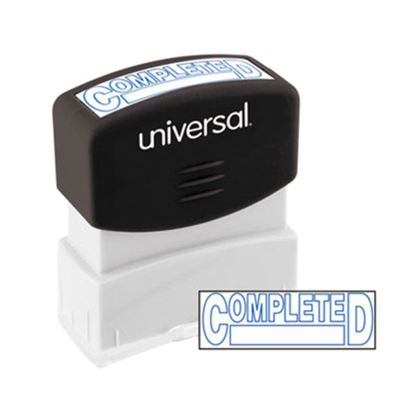 """Universal UNV10044 1 11/16"""" x 9/16"""" Blue Pre-Inked Completed Message Stamp Main Image 1"""