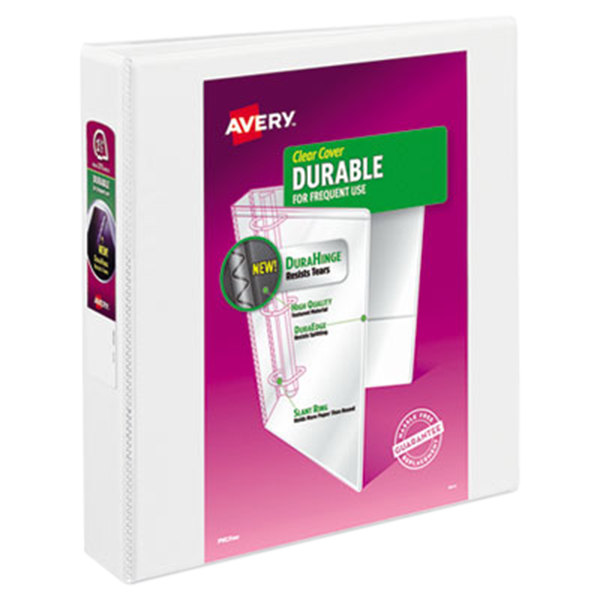 "Avery 17022 White Durable View Binder with 1 1/2"" Slant Rings"