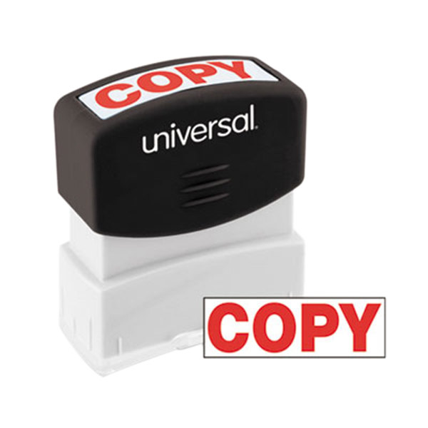 """Universal UNV10048 1 11/16"""" x 9/16"""" Red Pre-Inked Copy Message Stamp Main Image 1"""