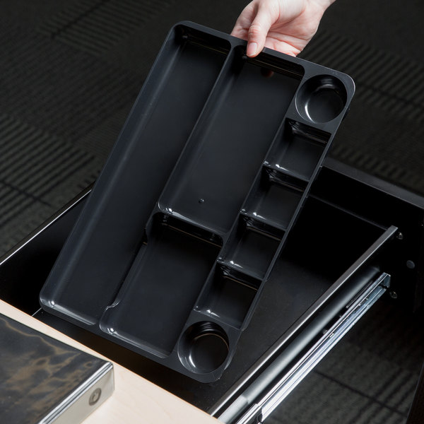 "Universal UNV08120 14"" x 9"" x 1 1/8"" Black 9 Section Plastic Drawer Organizer Main Image 6"