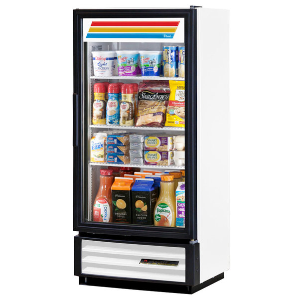 True GDM-10PT-HC-LD White Glass Door Pass-Through Refrigerated Merchandiser with LED Lighting - 10 cu. ft.