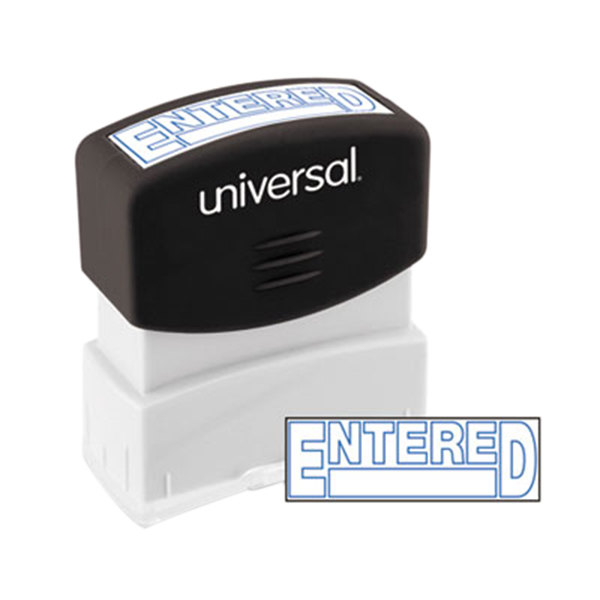 "Universal UNV10052 1 11/16"" x 9/16"" Blue Pre-Inked Entered Message Stamp"