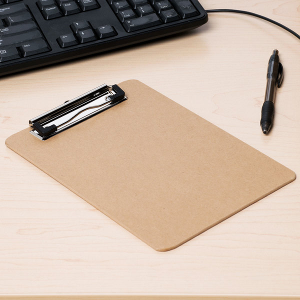 """Universal UNV05561 1/2"""" Capacity 8"""" x 5"""" Brown Low-Profile Clip Hardboard Clipboard - 6/Pack"""