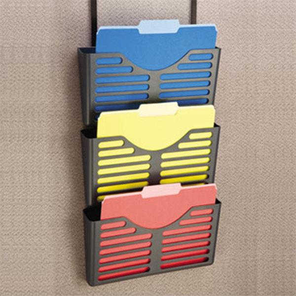 Universal UNV08163 Black Recycled Plastic Triple File Cubicle Pocket
