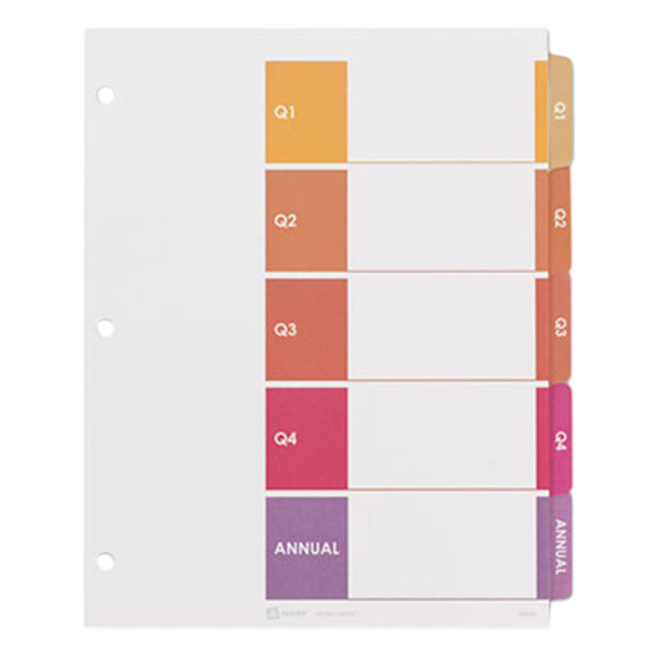 Avery 13153 Ready Index 5-Tab Customizable Table of Contents Quarterly Dividers