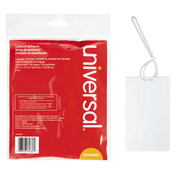 """Universal UNV84660 2 1/2"""" x 4 1/4"""" Clear Laminating Pouch with Loop Attachment - 25/Pack"""