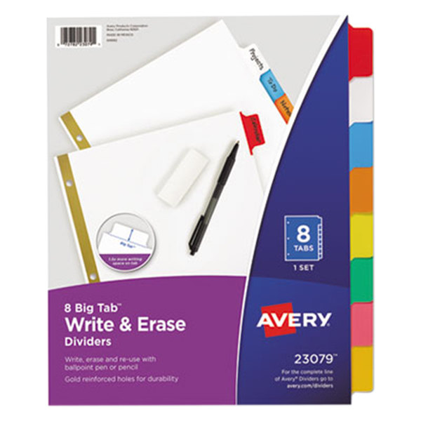 Avery 23079 Big Tab Write & Erase 8-Tab Multi-Color Dividers
