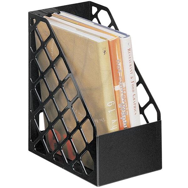 "Universal UNV08119 9 1/2"" x 6 1/4"" x 11 3/4"" Black Large Recycled Plastic Magazine File Main Image 1"