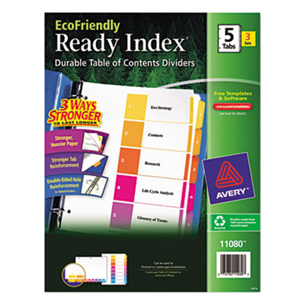 Avery 11080 EcoFriendly Ready Index 5-Tab Multi-Color Table of Contents Divider Set - 3/Pack