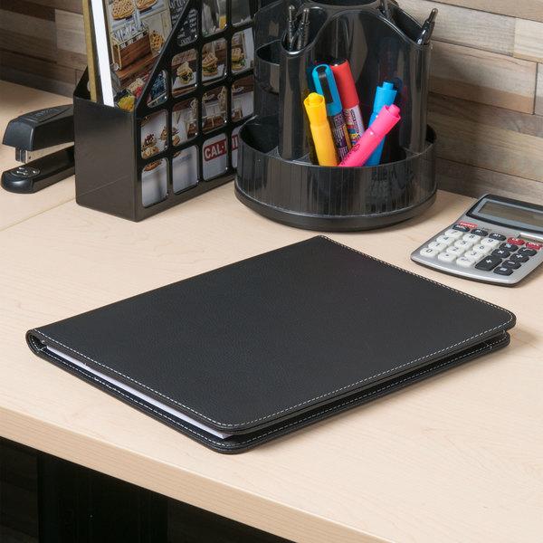 "Universal UNV32660 12 1/2"" x 9 3/4"" Black Leather Padfolio Main Image 7"