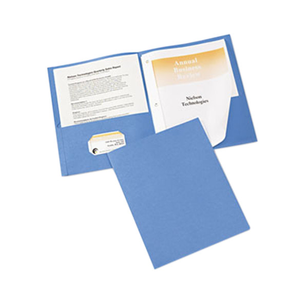 Avery 47976 Letter Size 2-Pocket Paper Folder with Prong Fasteners, Light Blue - 25/Box Main Image 1