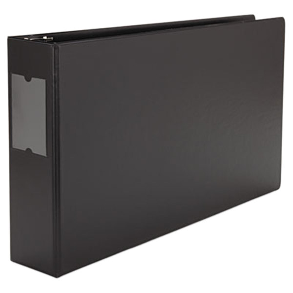 "Universal UNV35423 11"" x 17"" Black Non-Stick Non-View Binder with 3"" Round Rings and Spine Label Holder, Ledger"