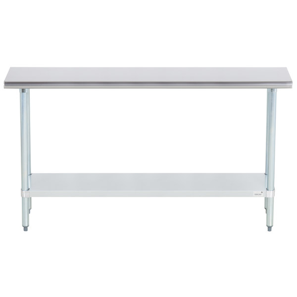 """Advance Tabco ELAG-245-X 24"""" x 60"""" 16 Gauge Stainless Steel Work Table with Galvanized Undershelf"""