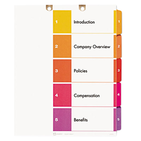 Avery 13156 ready index 5 tab multi color customizable for Avery index tabs template