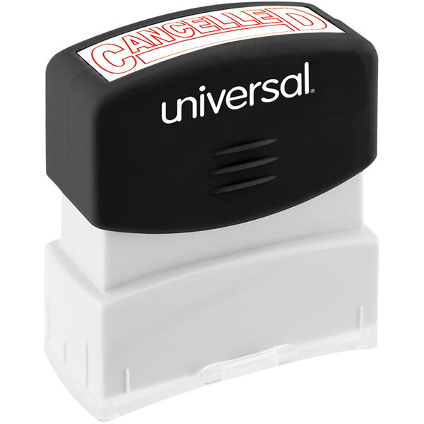 """Universal UNV10045 1 11/16"""" x 9/16"""" Red Pre-Inked Cancelled Message Stamp Main Image 1"""