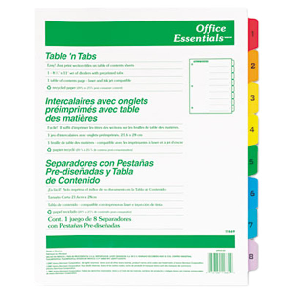 Avery Office Essentials 11669 Table 'n Tabs Multi-Color 8-Tab Dividers Main Image 1