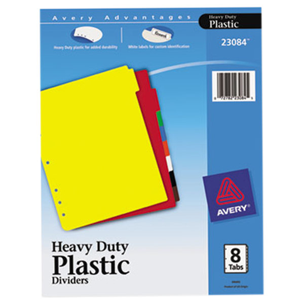 Avery 23084 8-Tab Heavy-Duty Plastic Multi-Color Dividers with Write-On Labels Main Image 1