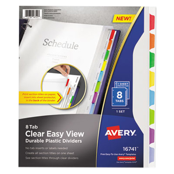 Avery 16741 8-Tab Clear Easy View Durable Plastic Dividers Main Image 1