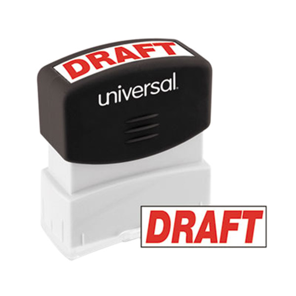 """Universal UNV10049 1 11/16"""" x 9/16"""" Red Pre-Inked Draft Message Stamp Main Image 1"""