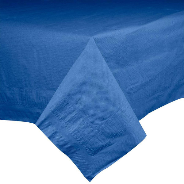 "Hoffmaster 220622 54"" x 108"" Cellutex Navy Blue Tissue / Poly Paper Table Cover - 25/Case"