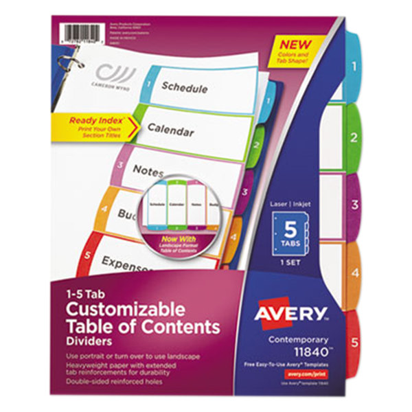 Avery 11840 Ready Index 5-Tab Multi-Color Customizable Table of Contents Dividers Main Image 1