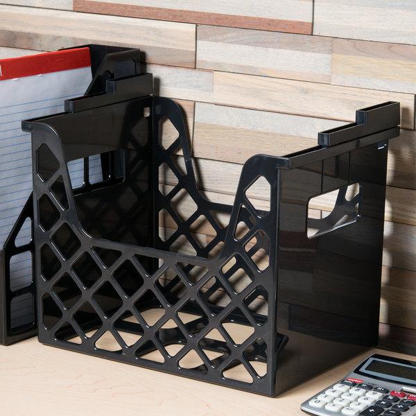 "Universal UNV08123 13 1/4"" x 8 1/2"" x 9 5/8"" Black Plastic Desktop File Holder"