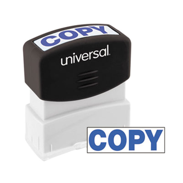 "Universal UNV10047 1 11/16"" x 9/16"" Blue Pre-Inked Copy Message Stamp Main Image 1"