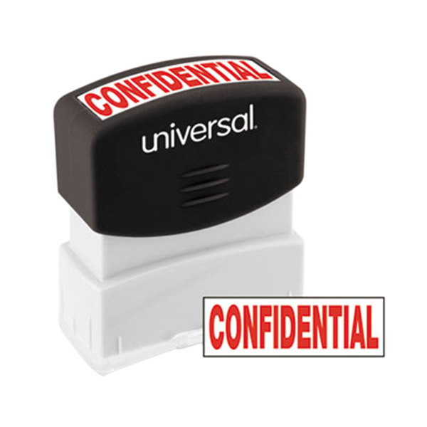 """Universal UNV10046 1 11/16"""" x 9/16"""" Red Pre-Inked Confidential Message Stamp"""