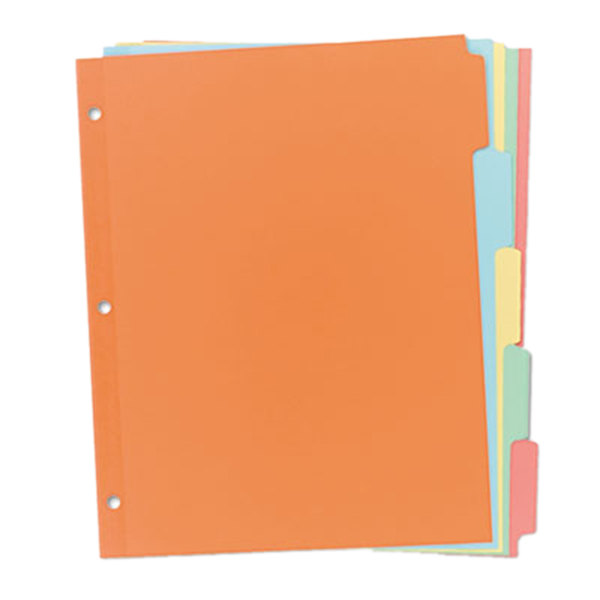 Avery 11508 Write-On 5-Tab Multi-Color Paper Divider Set - 36/Box Main Image 1