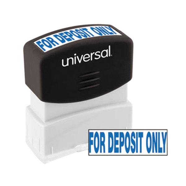 """Universal UNV10056 1 11/16"""" x 9/16"""" Blue Pre-Inked For Deposit Only Message Stamp"""