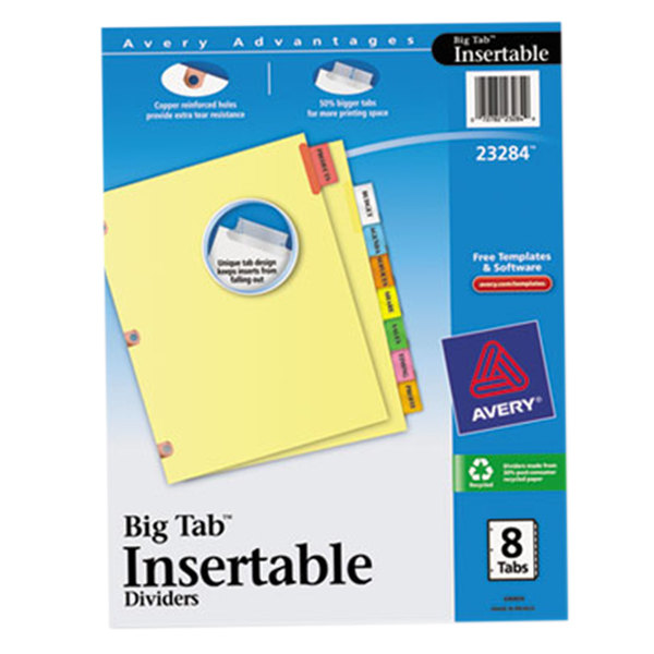 Avery 23284 Big Tab 8-Tab Multi-Color Tab Dividers with Copper Reinforcements Main Image 1